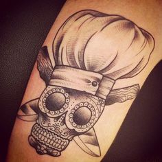 Maybe with a whisk and knife. sugar skul pastry chef tattoo http://www.becomeapastrychef.com/