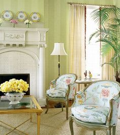 Details on mantel, lovely fabric on chairs