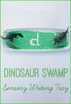 Dinosaur swamp sensory writing activity for kids