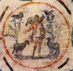 Representación del Buen Pastor en las Catacumbas de Priscila, Roma, 250-300.