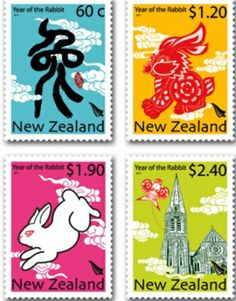 2011 year of the rabbit stamp New Zealand Year Of The Rabbit, French Collection, Going Postal, Kiwiana, 1920s Art, Bunny Art, First Day Covers, New Year Celebration, Lost Art