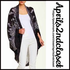 """❗️1-HOUR SALE❗️KIMONO Cocoon Long Cardigan Coverup NEW WITH TAGS RETAIL PRICE: $68  Boho Kimono Cocoon Cape Cardigan Blanket Scarf  * Relaxed & Silhouette  * Beautiful henna print & fringe trim  * Boho'festival feel';Incredibly lightweight loose knit for most seasons  * Cocoon style w/long wide kimono sleeves  * About 41.5"""" long ***Tagged one size fits most  Fabric:100% Viscose Item:94400 Color: Floral Print Black & Ivory  No Trades ✅Offers Considered*/Bundle Discounts✅ *Please use the blue…"""