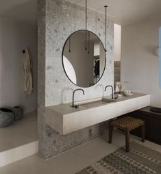 K-Studio designed Vora Villas, a boutique hotel that clings to the edge of a volcano crater on the Greek island of Santorini Rustic Bathroom Decor, Rustic Bathrooms, Bathroom Styling, Classic Bathroom, Modern Bathroom, Master Bathroom, Bathroom Taps, Bathroom Ideas, Bad Styling