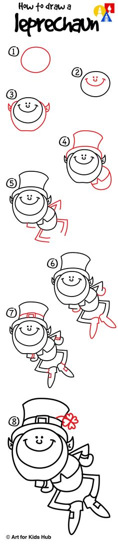 How To Draw A Leprechaun - Art For Kids Hub - Simple step by step instructions on how to draw a leprechaun just for kids! Watch the short video a Best Drawing For Kids, Drawing Pictures For Kids, Drawing Tutorials For Kids, Pictures To Draw, Valentines Day Drawing, Valentine Day Crafts, Art For Kids Hub, Directed Drawing, Step Kids