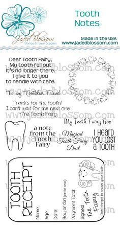 Jaded Blossom: Release day 4 - Tooth Fairy!! And a tooth receipt so you remember when they lost it. :)