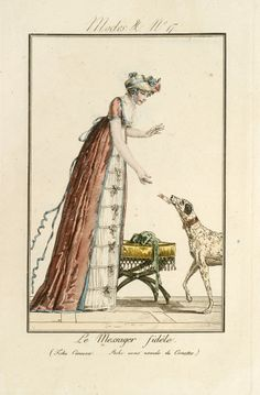 Sending love letters via dog! Modes et Manières du Jour no. 17 by Debucourt