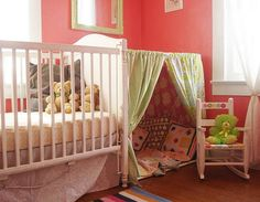 Place a curtain rod between the bed or a dresser and the wall to create a quiet reading nook or a special play area