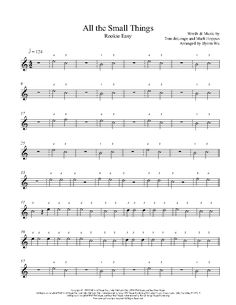 All The Small Things (Melody) by Blink-182 Piano Sheet Music | Rookie Level