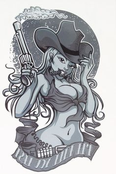 Western Wild Cowboy Girl Tattoo 21 X 15 CM Sized Sexy Cool Beauty Tattoo Waterproof Hot Temporary Tattoo Stickers