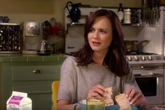 All The Gilmore Girls Clues We Found In The New Trailer #refinery29 http://www.refinery29.com/2016/10/127594/gilmore-girls-a-year-in-the-life-trailer-theories#slide-2 Somebody Is PreggersFans seem pretty sure that somebody is pregnant. Indeed, in the first scene, we see the gals bantering about the previous night over breakfast. We all know that Lorelai craved apples and Pop-Tarts when she was pregnant with Rory — is that what's happening here...