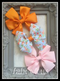 Set of 3 3 inch Pinwheel Hair Bows. Clips or by LizFabBows on Etsy