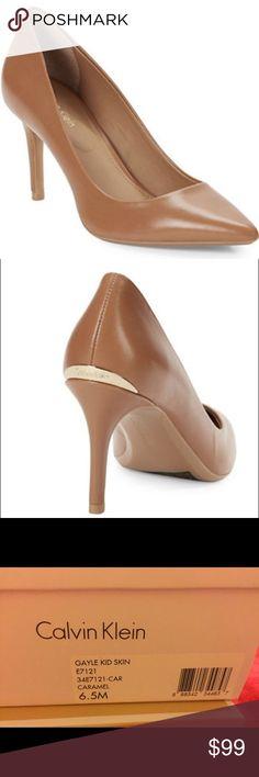 "Calvin Klein Gayle skin caramel pointed toe pumps Calvin Klein Gayle skin caramel pointed toe pumps. Never worn. 3""heel Calvin Klein Shoes Heels"