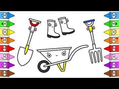 Drawing Garden | Garden Set For Kids | How To Draw Garden Tools - YouTube