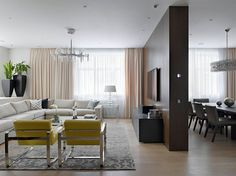 Wall division for different home areas, Photo by: Apartment on Alexander Nevsky St by Alexandra
