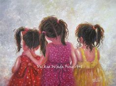 Three Sisters Art Print three girls art by VickieWadeFineArt
