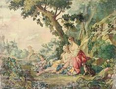 French School, Century , An Aubusson cartoon for a wall hanging depicting classical maidens in an extensive landscape with a putti holding a basket of peonies Gold Toile Wallpaper, Villa Romaine, Decoupage, Painted Curtains, French Images, Victorian Art, Vintage Labels, French Country Decorating, Oeuvre D'art