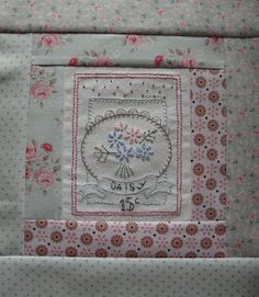 Finished Block Two of 'Le Jardin Quilt' designed by Bronwyn Hayes of Red Brolly Designs.