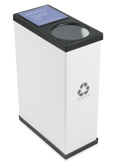 "Our single recycling bin unit, affordable, interchangeable signage, with great design. 10.5""w  x 20.5""d x 30.5""h $79"