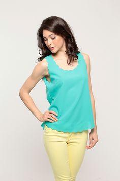 Scalloped Woven Neon Top @ Cicihot Top Shirt Clothing Online Store: Dress Shirt,Sexy Womens Shirt,T Shirts,Corset Dress,White T Shirt,Girl T Shirt,Short sleeve top,Sexy Shirts