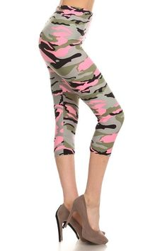 Dress up your outfit with this light pink camo colored print leggings. Pair it with one of your casual tops and you are ready for another comfortable day. Perfect for most plus sizes. - Fabric: 92% Po