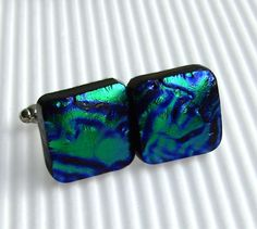 Fused Glass Jewelry  Mens Jewelry  Dichroic by TremoughGlass, $20.00