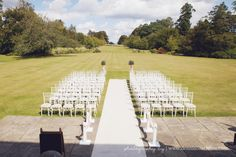 Outdoor wedding ceremony at beautiful Sussex wedding venue - Buxted Park Hotel.  By Dennison Studios Photography http://www.dennisonstudios.com