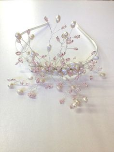 Pearl and pink bridal tiara by Anastasia Beads, from £42 www.anastasiabeads.co.uk
