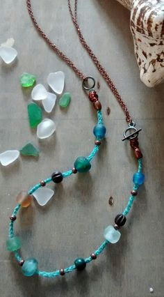 This Necklace looks just like a piece of Sea Glass Beach. Remembrance of Wonderful Days at the Sea finding Beautiful Beach Pebbles. Handmade Sea Bead necklace