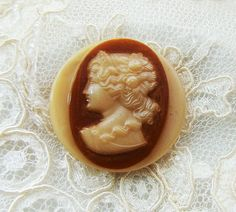 Vintage Classical Glass Cameo Button Cabochon in by Alyssabeths
