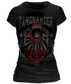 WANT!!!  True Blood - Fangbanger True Blood Distresed Female T-Shirt
