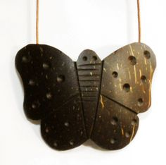Coconut Shell Butterfly Pendant