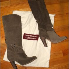 Comptoir des Cotonniers Suede Tall boots Beautiful Suede Tall boots in Beige - look awesome with everything. They can be worn up or low (slouchy). Euro size 39, USA Size 8. Originally 360£ (@$590) in Winter 2010, I waited too long and Size 7s were sold out. So I bought these just because they were on sale for 240£ (@$390). I wore these boots literally 2x - they were just too big for me. So they are pretty much NEW and in EXCELLENT CONDITION. Heel height @3.9inches, Boot Leg height @15.7…