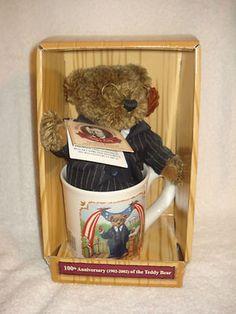 Theodore Roosevelt 100th Anniversary of the Teddy Bear Suit Glasses w/ Mug RARE!