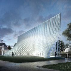 """BIG's Serpentine Gallery Pavilion features a tall pointed structure made of interlocking fibreglass """"bricks"""""""