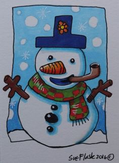ACEO 2016 Original Pen ProMarkers Drawing Art Christmas Snowman ii Sue Flask #Miniature