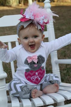 Baby Girl Valentine Outfit  Puppy Love  by DarlingLittleBowShop, $59.95