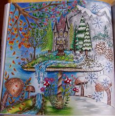 Leah Cornelius, Johanna Basford, Enchanted Forest, Faber Castell Polychromos pencils, seasons, adult coloring books