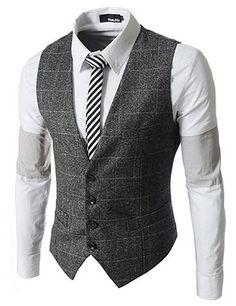 The Lees Slim Fit Checker 4 Button Vest Waistcoat Mature Mens Fashion, Suit Fashion, Fashion Sets, Sharp Dressed Man, Well Dressed Men, Men's Waistcoat, Mode Costume, Mens Attire, Suit Vest