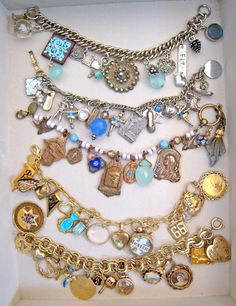 Using old jewelry for new bracelets. LOVE THIS!