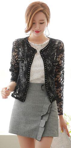 StyleOnme_Brooch Detail Frill Wrap Skort #ruffle #skirt #pants #summerlook #koreanfashion #kstyle #kfashion #seoul #feminine #dailylook