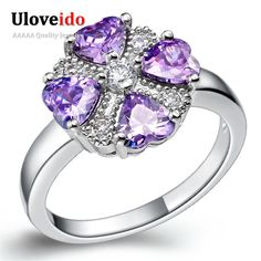 Find More Rings Information about Uloveido Wedding Purple Simulated Diamonds Rings Micro Pave Engagement Vintage Rings for Women Silver Plated Jewelry Anillo J362,High Quality ring beach,China ring spacer Suppliers, Cheap ring sundial from ULOVE Fashion Jewelry Official Store on Aliexpress.com