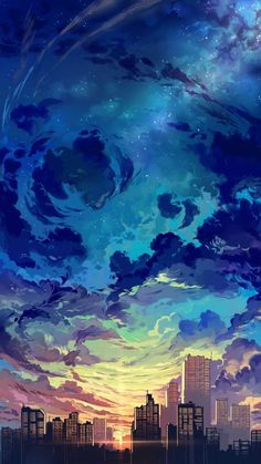 Diamond Painting Sky City Landscape Paint with Diamonds Art Crystal Craft Decor - - Anime Scenery Wallpaper, Landscape Wallpaper, Galaxy Wallpaper, Landscape Paintings, Dark Wallpaper, Pretty Phone Wallpaper, Kawaii Wallpaper, Wallpaper Aesthetic, Aesthetic Backgrounds