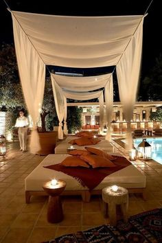 Would be gorgeous for the cocktail reception ... daybeds and canopies
