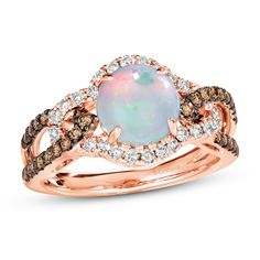 Natural Opal, Natural Diamonds, Opal Rings, Gemstone Rings, Opals, Gold Bands, Colored Diamonds, Strawberry, Le Vian
