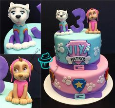 Niya's Awesome Girl Paw Patrol cake with handmade pups