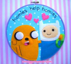 Finn and Jake Adventure Time Embroidery by IggyStarpup on Etsy, $40.00