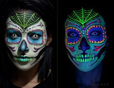 Black light responsive sugar skull makeup! - 16 Day of the Dead Makeup Ideas