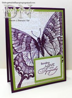 Unfrogettable Stamping | CAS Swallowtail sympathy card, option 1  http://unfrogettablestamping.typepad.com/my_weblog/2014/08/swallowtail-sympathy-cards.html