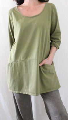 Pure Jill J. Jill 100% Pima Cotton Scoop Neck Long Curved Seam Tunic Green Sz L #JJill #Tunic