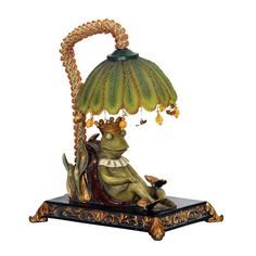 Sterling Industries 91-740 Single Light King Frog Mini Table Lamp with Leaf Shad Frog Lamps Specialty Lamps Accent Lamps